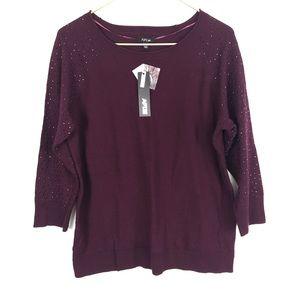 Apt. 9 Rhinestone 3/4 Sleeve Knit Sweater